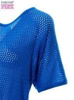 Kobaltowy siateczkowy sweter oversize                                  zdj.                                  5