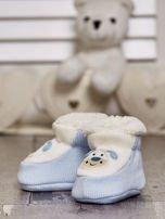 Komplet bucików dziecięcych z naszywkami ecru-jasnoniebieski                                  zdj.                                  8