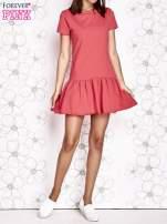 Koralowa dresowa sukienka z wycięciem na plecach                                                                           zdj.                                                                         6