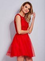 Koronkowa sukienka czerwona z tiulowym dołem                                  zdj.                                  5