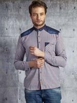 Koszula męska w drobną kolorową kratkę wielokolorowa PLUS SIZE                                  zdj.                                  1