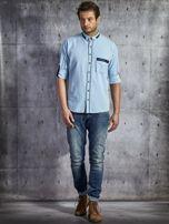 Koszula męska z kieszenią jasnoniebieska PLUS SIZE                                  zdj.                                  4