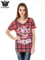 Kraciasty t-shirt z napisem THE ROAD IS OURS CHICACO                                  zdj.                                  1