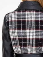 Kraciasty wełniany płaszcz ze skórzanymi rękawami                                                                          zdj.                                                                         6
