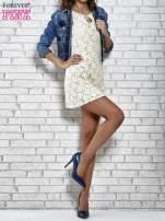 Kremowa koronkowa sukienka z wiązaniem przy dekolcie                                  zdj.                                  5