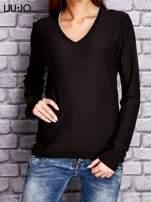 LIU JO Ciemnobrązowy sweter z trójkątnym dekoltem                                  zdj.                                  1