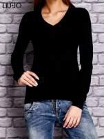 LIU JO Czarny sweter z trójkątnym dekoltem                                  zdj.                                  1