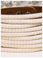 LOLITA Biała bransoletka skórzana WRAP kryształki cyrkonie szeroka 5 cm BLOGERS HIT                                  zdj.                                  4