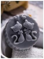 LaQ Mydełko Dwa kotki w medalionie - szary / Zapach - wata cukrowa BEZ SLS i SLES                                  zdj.                                  3