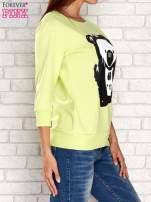 Limonkowa bluza z nadrukiem pandy                                  zdj.                                  3
