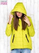 Limonkowa przejściowa kurtka puchowa z dłuższym tyłem                                  zdj.                                  5