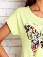 Limonkowa sukienka z cekinowym motylem                                  zdj.                                  5