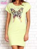 Limonkowa sukienka z cekinowym motylem                                  zdj.                                  1
