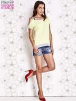 Limonkowy t-shirt z kokardą                                  zdj.                                  2