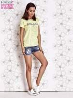 Żółty t-shirt z napisem BONJOUR                                                                          zdj.                                                                         2