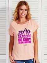 Łososiowy t-shirt damski DO GÓRY JAK KANGURY by Markus P                                  zdj.                                  1