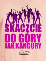 Łososiowy t-shirt damski DO GÓRY JAK KANGURY by Markus P                                  zdj.                                  2