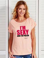 Łososiowy t-shirt damski I'M SEXY AND I'M POLISH by Markus P                                  zdj.                                  1