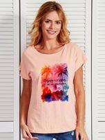 Łososiowy t-shirt damski PALMY I PLAŻA by Markus P                                  zdj.                                  1