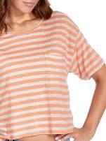 Luźny krótki t-shirt z kieszonką w pomarańczowe paski                                  zdj.                                  5