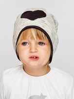 Melanżowa czapka dziewczęca z naszywką serca szaro-czarna                                  zdj.                                  1