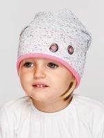 Melanżowa czapka dziewczęca z ozdobnymi nitami szaro-różowa                                  zdj.                                  1