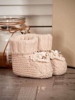 Miękkie buciki dziewczęce wyszywane perełkami beżowe                                  zdj.                                  3