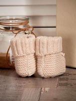 Miękkie buciki dziewczęce wyszywane perełkami beżowe                                  zdj.                                  2