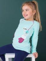 Miętowa bawełniana bluzka dla dziewczynki                                   zdj.                                  5