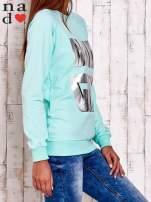 Miętowa bluza z napisem BAD GIRL                                  zdj.                                  3