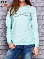 Miętowa bluza z napisem LOVE                                  zdj.                                  1
