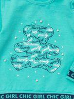 Miętowa bluzka dla dziewczynki z perełkami                                  zdj.                                  2