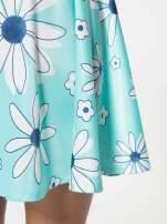 Miętowa rozkloszowana spódnica skater w kwiaty                                  zdj.                                  7