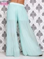 Miętowe plisowane spodnie palazzo                                                                           zdj.                                                                         3