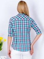 Miętowo-różowa koszula w kratkę                                  zdj.                                  2