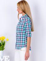Miętowo-różowa koszula w kratkę                                  zdj.                                  5