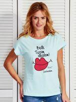 Miętowy t-shirt damski BĘDĘ TWOIM IDEAŁEM by Markus P                                  zdj.                                  1