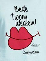 Miętowy t-shirt damski BĘDĘ TWOIM IDEAŁEM by Markus P                                  zdj.                                  2