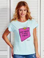 Miętowy t-shirt damski JESTEM ZAJEBISTA! by Markus P                                  zdj.                                  1