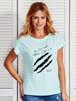 Miętowy t-shirt damski KICI KICI MIAŁ by Markus P                                  zdj.                                  1