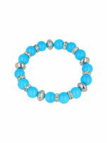 Niebieska Bransoletka koralikowa  z cyrkoniowymi przekładkami                                  zdj.                                  2