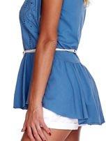 Niebieska bluzka boho z ozdobnym paskiem                                  zdj.                                  6