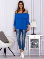 Niebieska bluzka hiszpanka z podwijanymi rękawami                                  zdj.                                  4