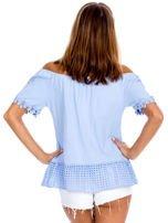 Niebieska bluzka z ażurowym dołem                                  zdj.                                  2