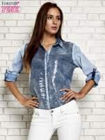 Niebieska denimowa koszula z cekinami                                  zdj.                                  7