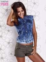 Niebieska denimowa koszula z surowym wykończeniem                                  zdj.                                  5