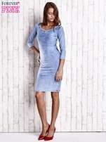 Niebieska denimowa sukienka z dekoltem w łódkę                                                                          zdj.                                                                         3