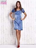 Niebieska denimowa sukienka z wycięciami na plecach                                  zdj.                                  2