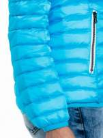 Niebieska dwustronna lekka kurtka puchowa