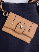 Niebieska dziurkowana torba shopper z portfelem                                                                          zdj.                                                                         5